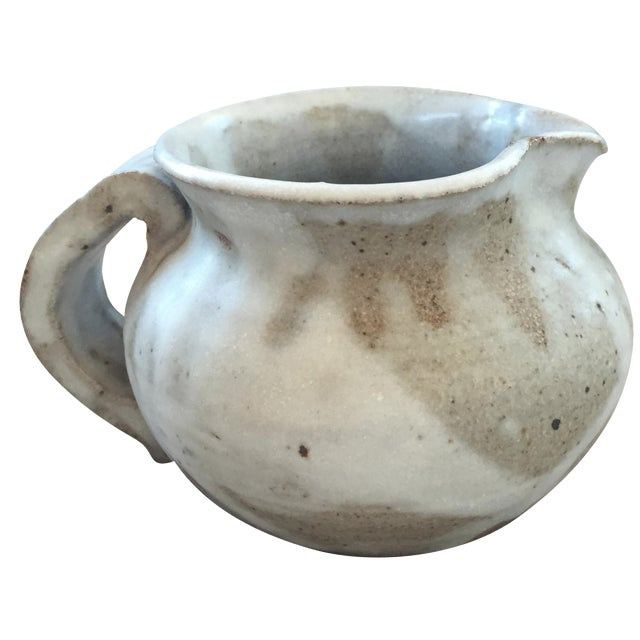 1979 White Studio Pottery Pitcher Signed For Sale