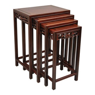 20th Century Asian Hardwood Floral Carved Oriental Nesting Side Tables - Set of 4