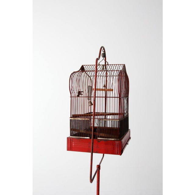 Antique Crown Bird Cage With Stand For Sale - Image 4 of 10
