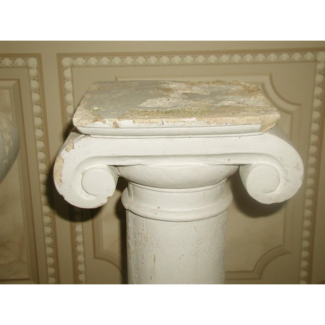 Pair of plaster neoclassical columns with good weight for architectural interest or adding planters,urns or art sculpture...