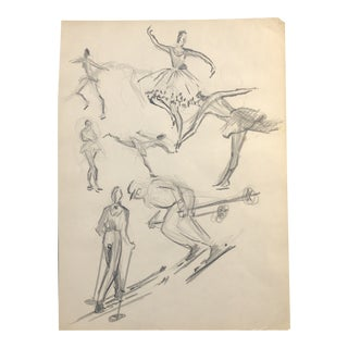 Snow Skiers and Ballerinas 1950s For Sale