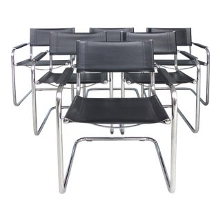 Italian Tubular Chrome & Leather Dining Chairs after Marcel Breuer-Set of 6