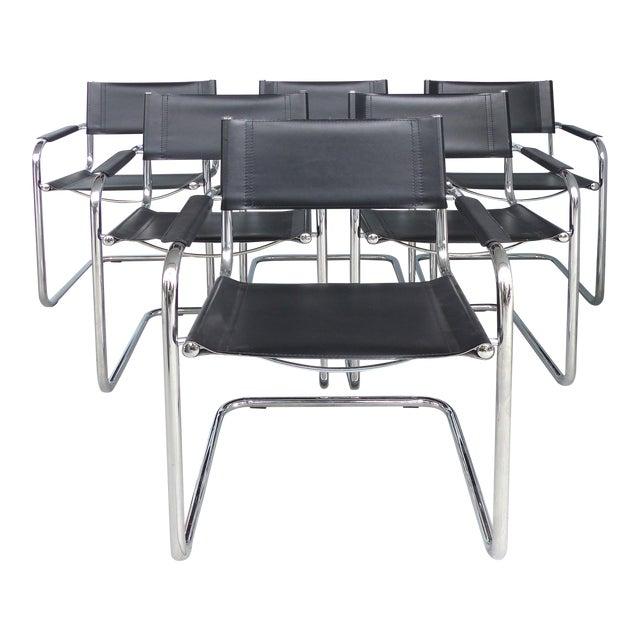 Italian Leather Dining Chairs: Italian Tubular Chrome & Leather Dining Chairs After