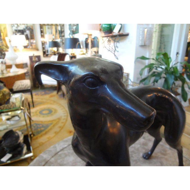 Figurative Vintage Mid-Century Bronze Whippet Sculpture For Sale - Image 3 of 7