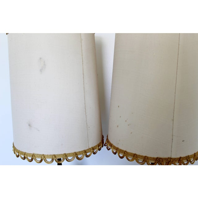 1960s Mid-Century Modern Blue Drip Lava Glaze Ceramic Table Lamps - a Pair For Sale In Detroit - Image 6 of 8