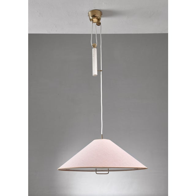 Mid-Century Modern Paavo Tynell Pendant With Counterweight and Fabric Shade and Diffuser, Finland For Sale - Image 3 of 6