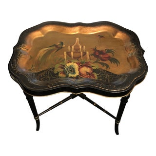Early 20th Century Victorian Style Hand-Painted Tole Tray Table on Custom Stand For Sale