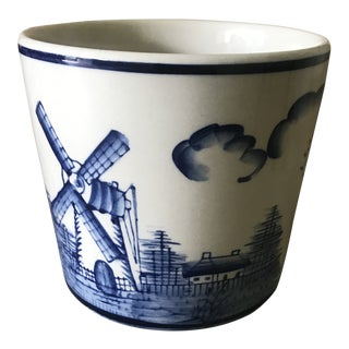 1980s Vintage Round Blue and White Planter For Sale