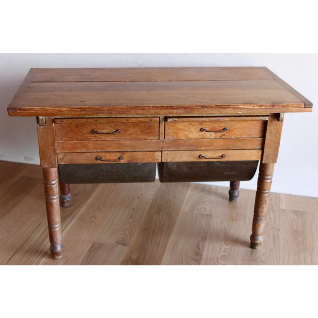 Antique Early 20th Century Primitive Shaker Farmhouse Dining Table Possum Belly Baker's Table Kitchen Island For Sale - Image 10 of 12