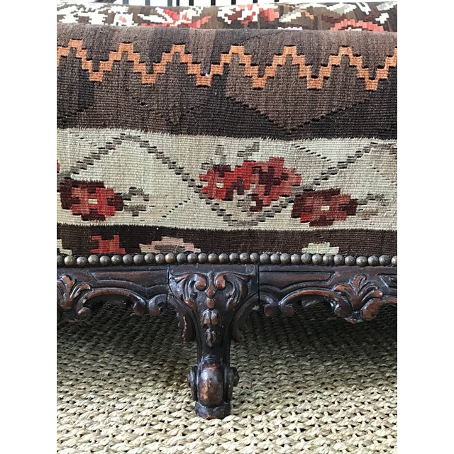 Antique French Serpentine Sofa Upholstered in Antique Karabagh Peacock Kilms For Sale - Image 10 of 13