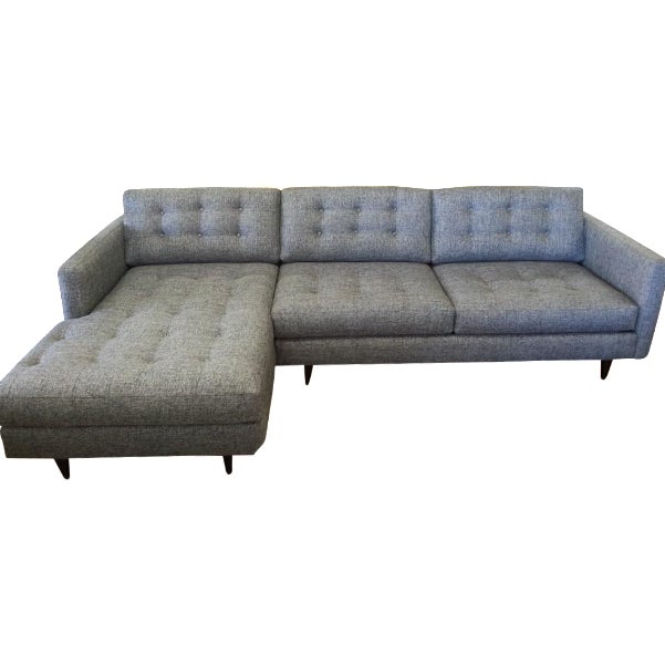 Mid-Century Tufted 2-Piece Sectional - Image 1 of 3