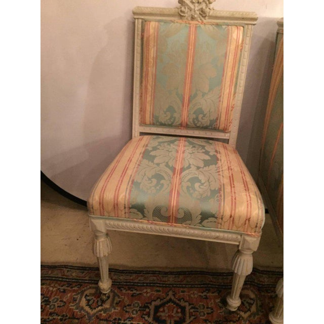 Swedish Fashioned Louis XVI Style Salon Suite, Off-White Paint Decorated Finish - Image 8 of 10