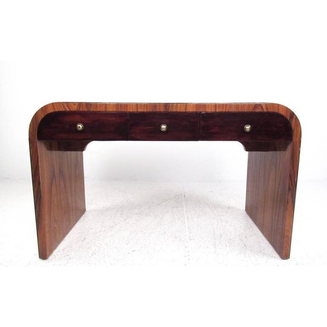 Contemporary Italian Modern Writing Desk in Rosewood For Sale - Image 3 of 10