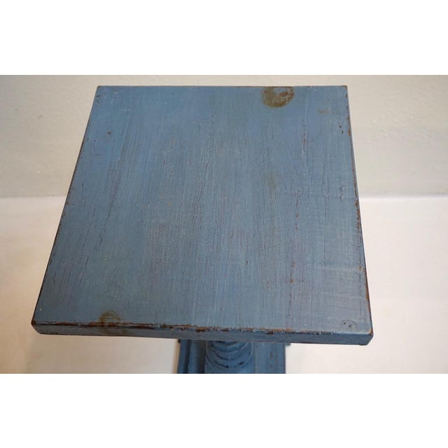 Small Antique Blue Painted Pedestal Table For Sale - Image 4 of 7