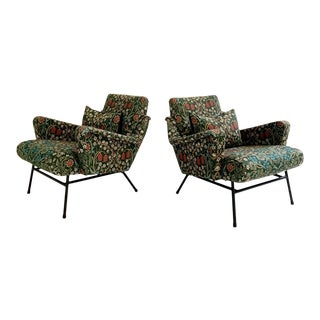 Mid-Century French Lounge Chairs in William Morris Blackthorn, Pair For Sale