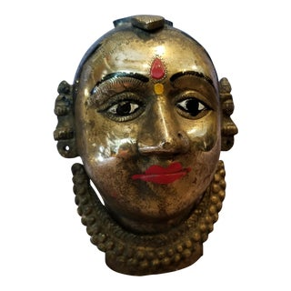 19th Century Brass Krishna Head
