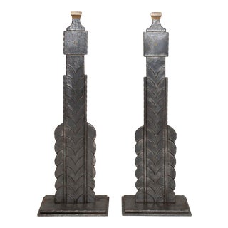 Circa 1925 French Art Deco Style Andirons With Fish Scale Motif - a Pair For Sale