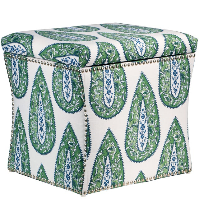 Textile Bindi Kelly Cotton Storage Ottoman For Sale - Image 7 of 7