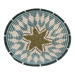Aqua and Teal Fair Trade African Basket For Sale