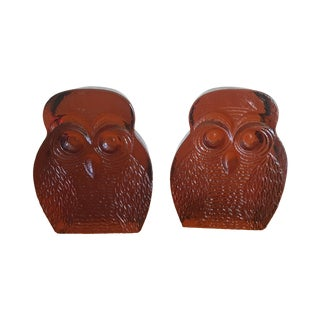 Blenko Mid Century Amber Glass Owl Bookends - Pair