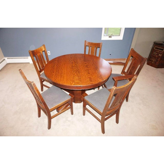 Great Arts and Crafts Era Stickley Quaint Table with Five Chairs. Made circa 1905. Shiny clean finish. Oiled every few...