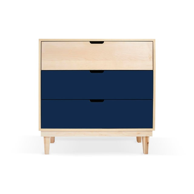 Contemporary Kabano Modern Kids 3-Drawer Dresser in Maple With Deep Blue Finish For Sale - Image 3 of 3