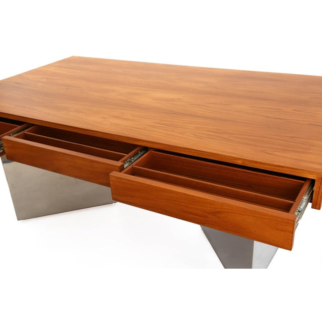 1970s Teak and Polished Steel Desk by Pace For Sale - Image 5 of 7
