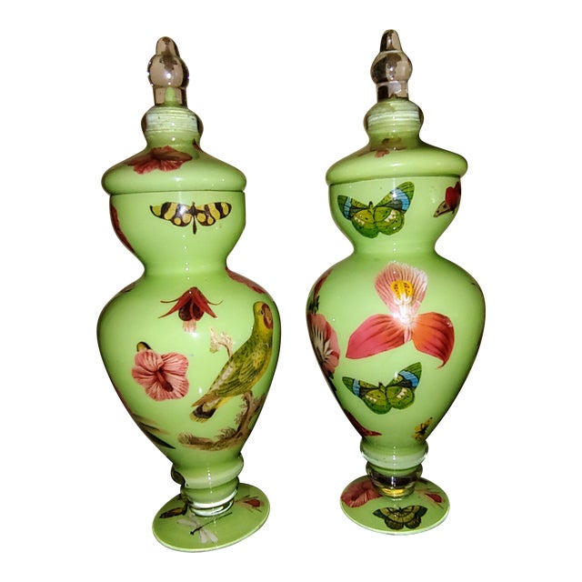 Botanical Butterfly Twigs and Moss Urns, by Susan Haas - a Pair For Sale