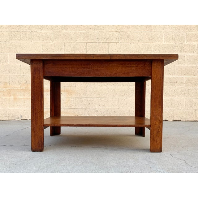 Arts & Crafts Antique American Craftsman Library/ Work Table, Solid Oak For Sale - Image 3 of 10