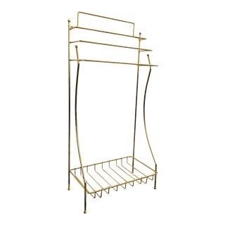 Vintage Brass Towel Rack or Clothing Rack For Sale