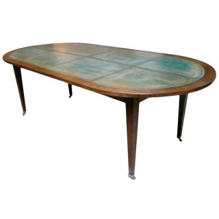 Louis XVI Style Oval Dining Table With Copper Top For Sale