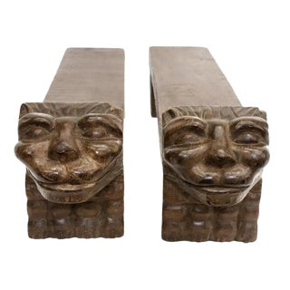 Antique Victorian Gothic Revival Grotesque Cat Mask Architectural Carved Walnut Stands - a Pair For Sale
