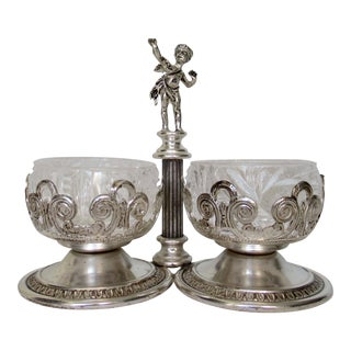 Vintage English Silver Plate Dual Salt & Pepper, Salt Serving Cellars W/Winged Cupid Figure - 3 Pieces For Sale