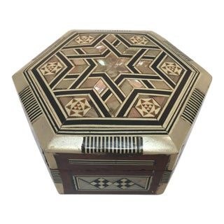 Syrian Mother-Of-Pearl Inlaid Octagonal Box For Sale