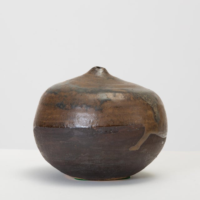 Brown and Black Glazed Studio Pottery Weed Pot by Sakamoto For Sale - Image 11 of 11