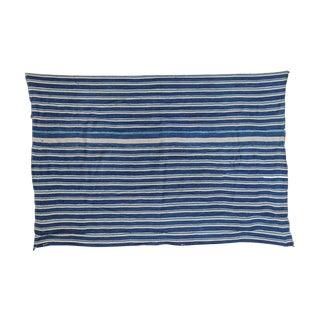 "Indigo Blue Striped Throw - 3'2"" X 4'8"" For Sale"