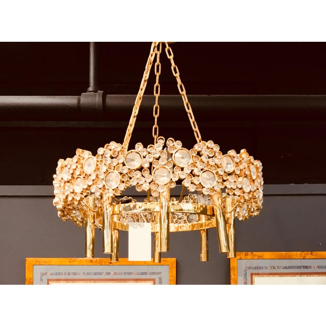 1960s Brass and Glass Eight Light Chandelier For Sale - Image 5 of 5