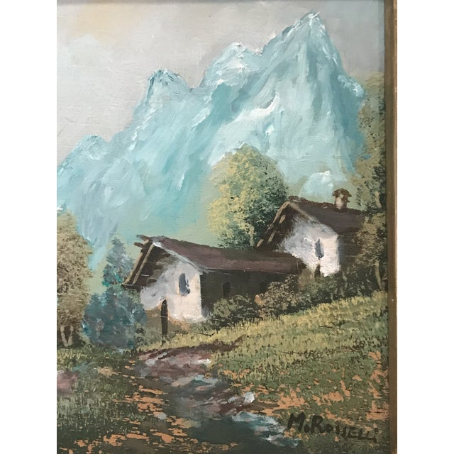 Canvas Vintage Mid-Century M. Rosselli Framed Oil on Canvas Landscape Painting For Sale - Image 7 of 11