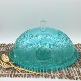 Aqua / Turquoise Blue Embossed Glass Covered Cake Plate Preview
