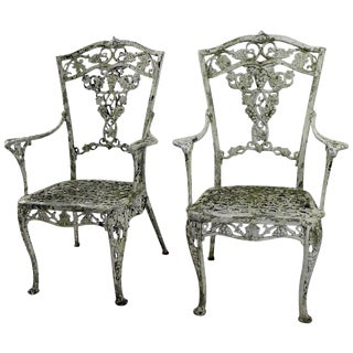 Patinated Cast Metal Garden Chairs- A Pair For Sale