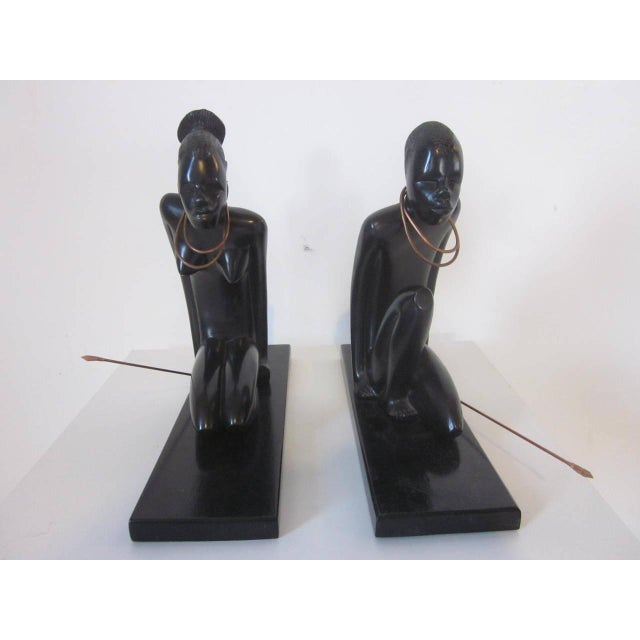 Primitive 1940s Hand Carved Sculptures - a pair For Sale - Image 3 of 6