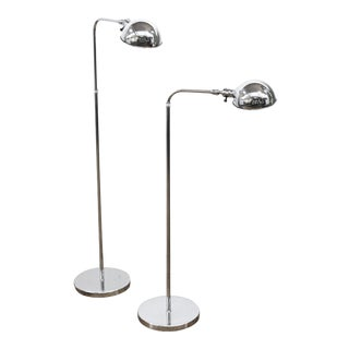 Modern Metal Floor Reading Lamps with Adjustable Height - a Pair For Sale