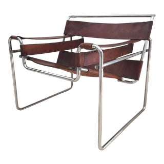 Vintage Mid Century Early Original Marcel Breuer Wassily Brown for Knoll Leather Chair For Sale