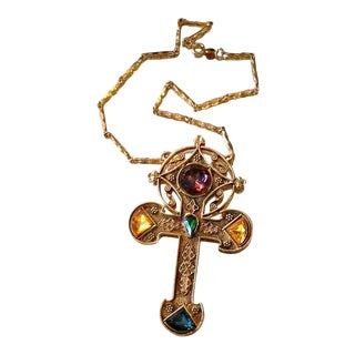 1980s Egyptian Revival Gold Cross Statement Necklace For Sale