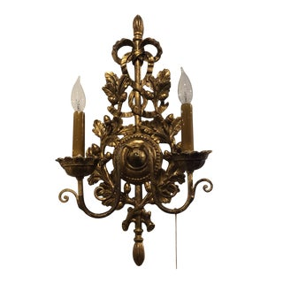 Italian Two Light Wood Carved Sconce For Sale