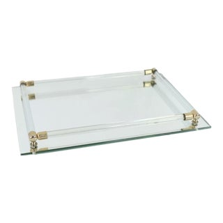 Vintage 1960s Mid Century Modern Brass Lucite Mirrored Bar Vanity Tray For Sale