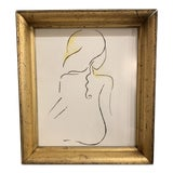 Image of Contemporary Nude Woman Watercolor Painting For Sale