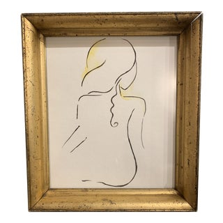 Contemporary Nude Woman Watercolor Painting For Sale