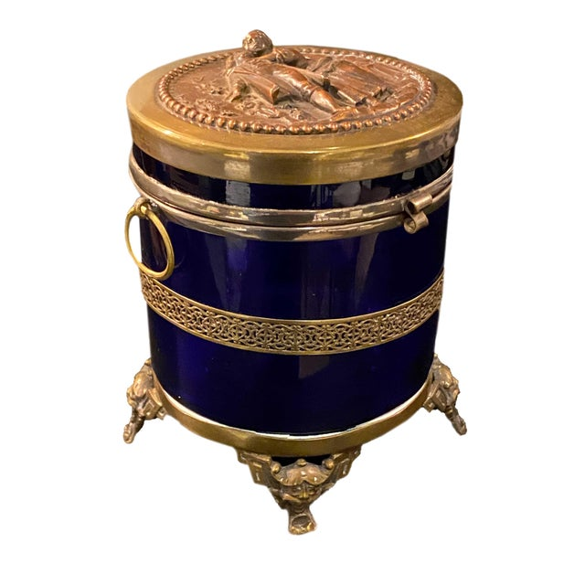 French Antique Royal Blue Glass Trinket Box For Sale - Image 3 of 11