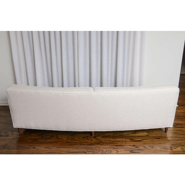 Fabric Mid-Century Modern Curved Sofa in White Fabric by Edward Wormley for Dunbar For Sale - Image 7 of 11